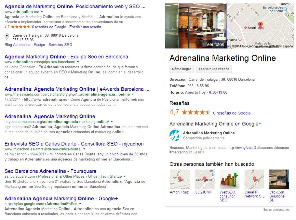 Resultado de Google con el Knowledge Graph al buscar Adrenalina