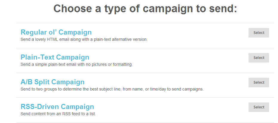 campaña email con mailchip