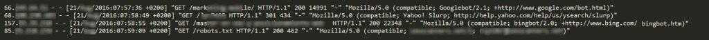Ejemlo registro de log de una web