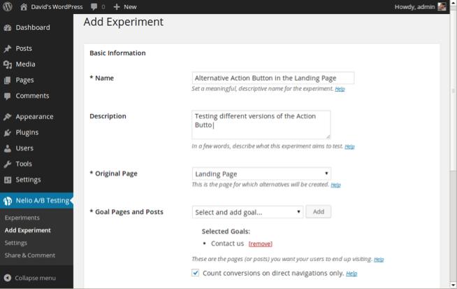 Creación de un experimento de páginas con el plugin de Nelio.