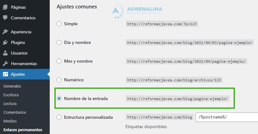 ajustes enlaces permanentes