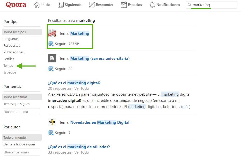 quora marketing contenidos