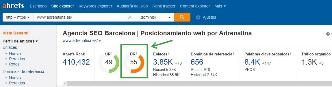 domain rating ahrefs