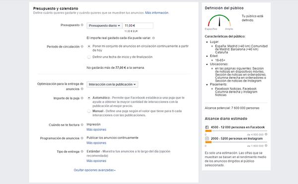 configuracion presupuesto facebook ads