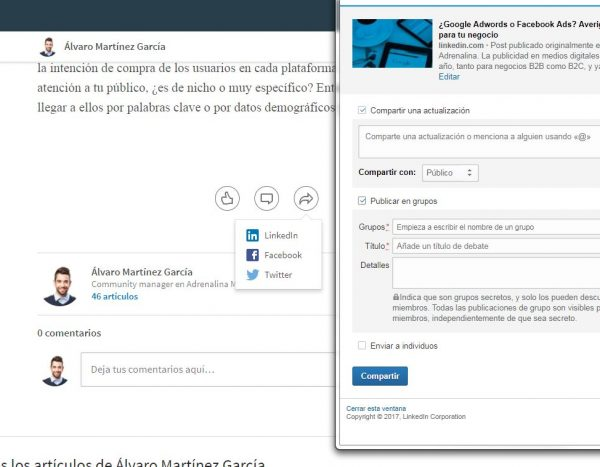 Compartir posts en grupos de LinkedIn
