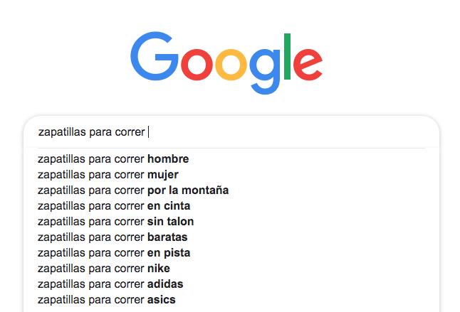 Sugerencias de búsqueda de Google.