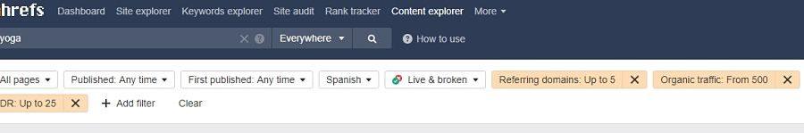 filtros content explorer