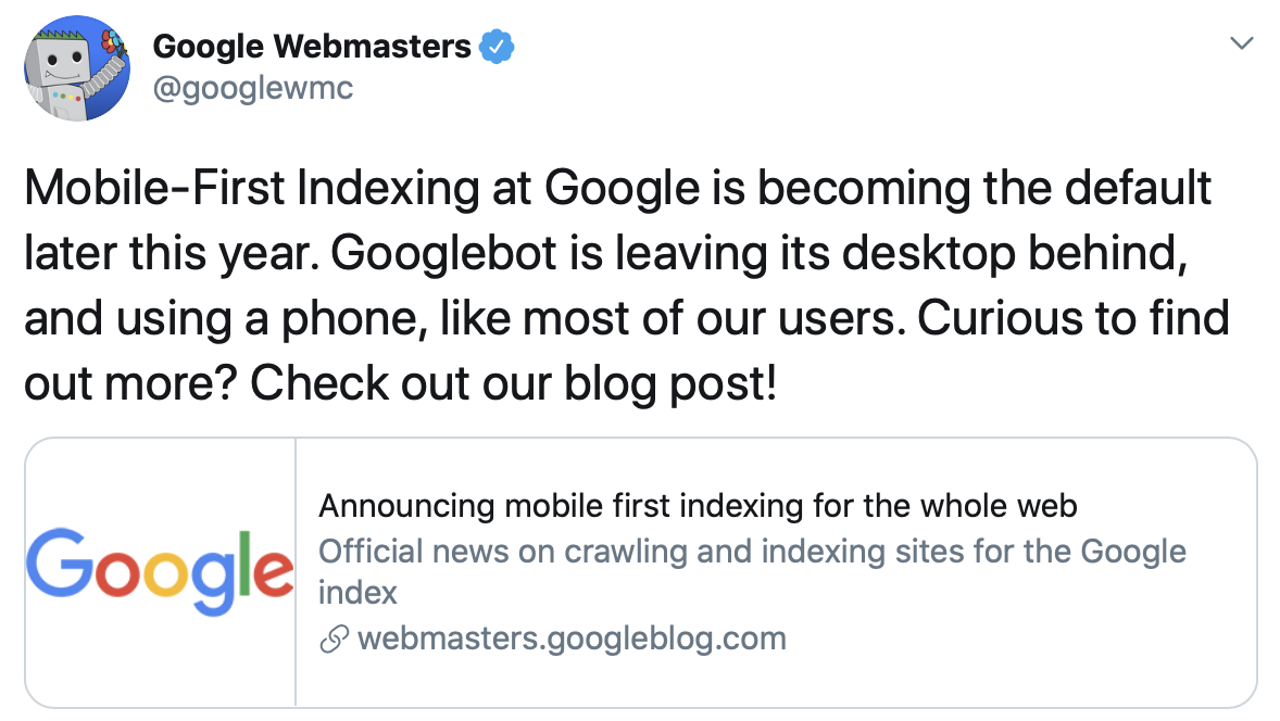 Anuncio de Google sobre Mobile First Index