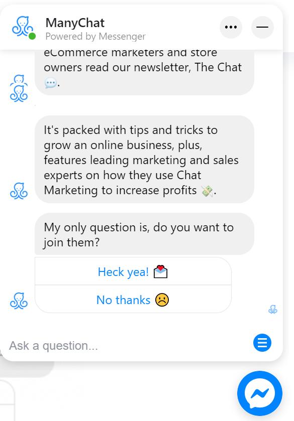 chatbot con opciones