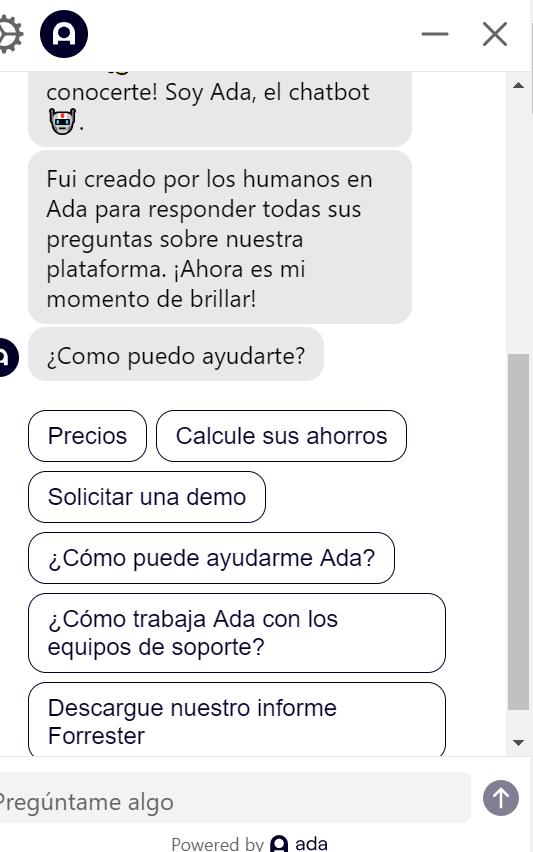 chatbot contextual ada opciones