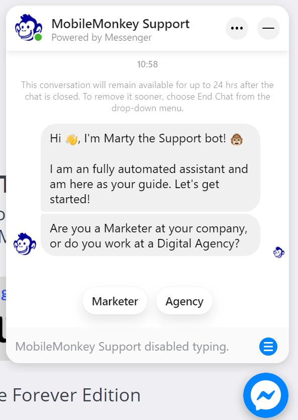 mobilemonkey chatbot messenger