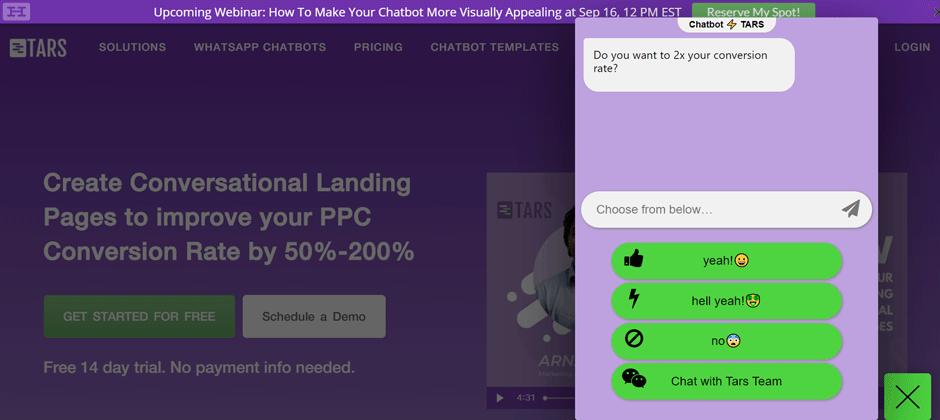 tars chatbot interfaz