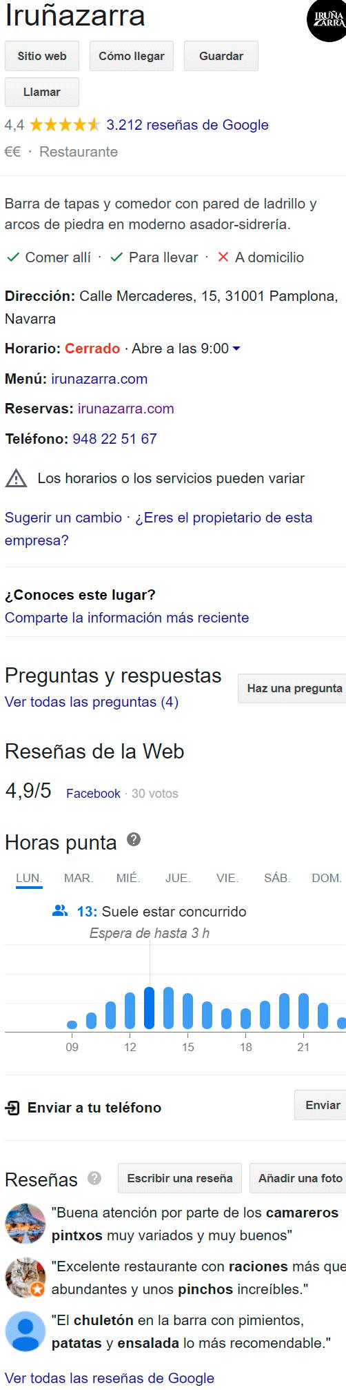 google business restaurante