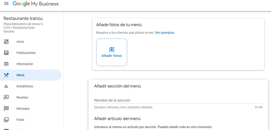 menu google business