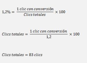 Ejemplo de calculo de una tasa de conversión por debajo de la TCO
