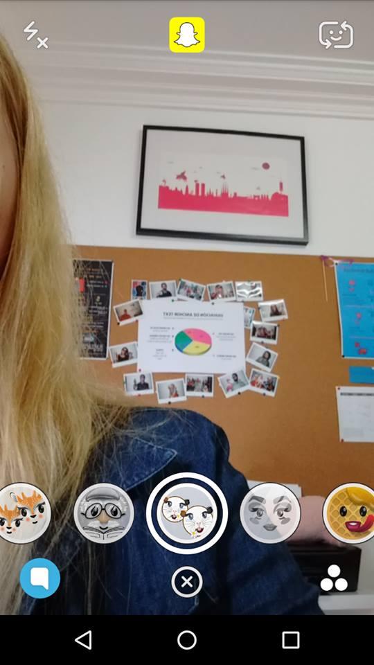Filtros de cara en Snapchat