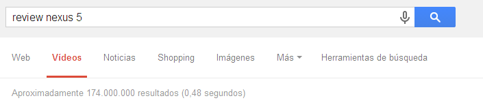 Opción de búsqueda por vídeo en Google