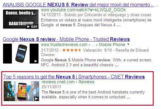 Thumbnail de vídeos en los resultados de Google